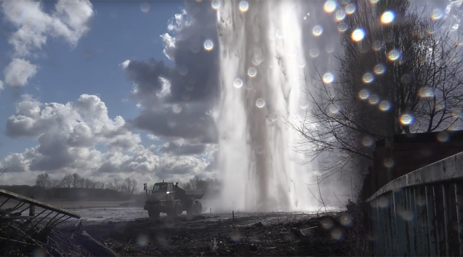 Burst water main creates massive fountain seen from miles around (VIDEO)