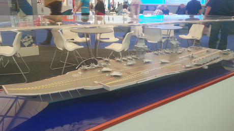 Model of the aircraft carrier project 23000E at the «Army 2015» exhibition. © Artem Tkachenko