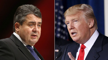 German Economy Minister and leader of the Social Democratic Party (SPD) Sigmar Gabriel (L), Republican U.S. presidential candidate Donald Trump. © Reuters