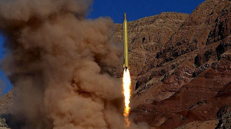 A ballistic missile is launched and tested in an undisclosed location, Iran, in this handout photo released by Farsnews on March 9, 2016. © farsnews.com