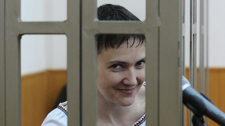 Ukrainian citizen Nadezhda Savchenko, accused of involvement in the deaths of Russian journalists in Ukraine, at the Donetsk City Court in Rostov Region. © Sergey Pivovarov
