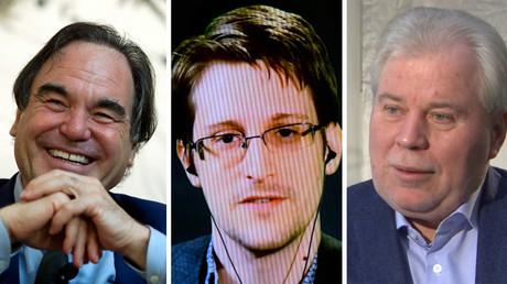 Oliver Stone, Edward Snowden, Anatoly Kucherena ©Ana Martinez Andrew Kelly