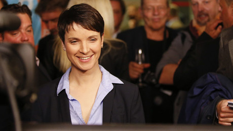 Frauke Petry, chairwoman of the anti-immigration party Alternative for Germany (AfD) reacts after first exit polls in three regional state elections at the AfD party's election night party in Berlin, Germany, March 13, 2016. © Fabrizio Bensch