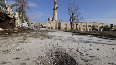 A general view shows the damage at the ancient al-Atroush mosque in the old city of Aleppo, Syria January 28, 2016. © Abdalrhman Ismail
