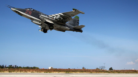 A Russian Su-25 attack aircraft takes off from the Khmeimim airbase in Syria. © Dmitriy Vinogradov