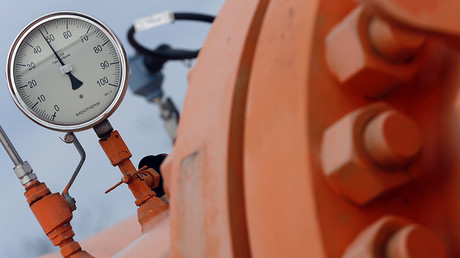 A monitoring instrument seen on the gas distribution pipeline in Beregdaroc, one of several points where Russian gas crosses into the European Union, on February 10, 2015. © Laszlo Balogh