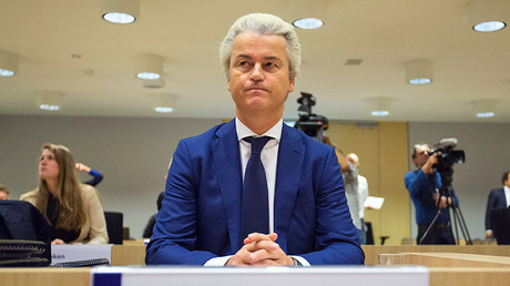 Wilders appeared in court with his trademark peroxide blonde hair. © Michael Kooren
