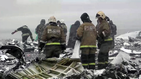 The crash site of the Boeing-737-800 passenger jet which crashed on landing in Rostov-on-Don airport (a video screen shot courtesy of the Russian Emergencies Ministry). ©