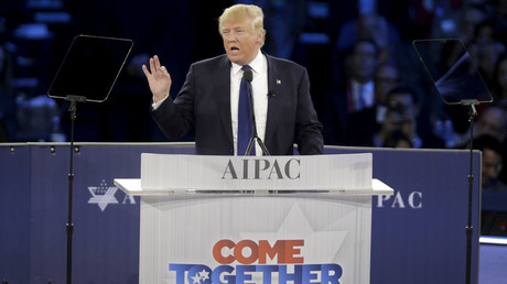 Republican U.S. presidential candidate Donald Trump addresses the American Israel Public Affairs Committee (AIPAC) afternoon general session in Washington March 21, 2016. © Joshua Roberts