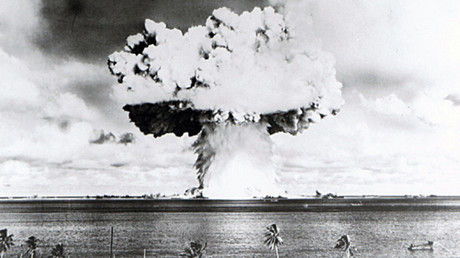 This U.S. Navy handout image shows Baker, the second of the two atomic bomb tests, in which a 63-kiloton warhead was exploded 90 feet under water as part of Operation Crossroads, conducted at Bikini Atoll in July 1946 to measure nuclear weapon effects on warships. © U.S. Navy