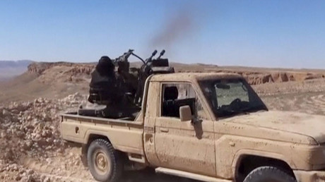 An Islamic State fighter fires an anti-aircraft gun in this still image taken from a video said to be taken on the outskirts of Palmyra and uploaded on March 21, 2016 by an agency affiliated to the Islamic State. ©Reuters