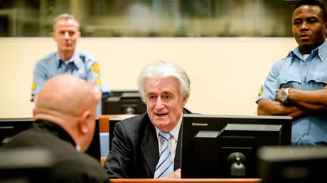 Ex-Bosnian Serb leader Radovan Karadzic sits in the court of the International Criminal Tribunal for former Yugoslavia (ICTY) in the Hague, the Netherlands March 24, 2016. © Robin van Lonkhuijsen