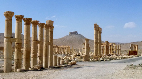 A general view taken on March 27, 2016 shows part of the ancient city of Palmyra, after government troops recaptured the UNESCO world heritage site from the Islamic State (IS) group. © Maher Al Mounes