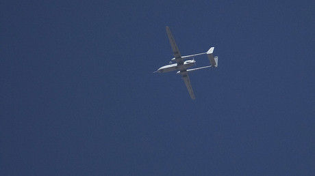 An Israeli drone flies over the West Bank city of Hebron © Ronen Zvulun