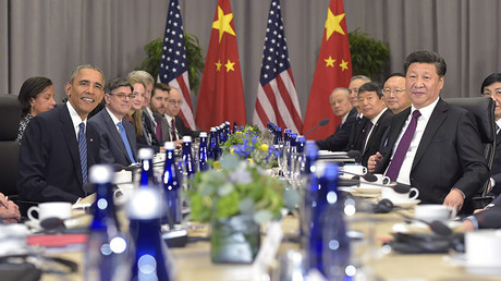 US President Barack Obama and China's President Xi Jinping ( R) take part in a bilateral meeting on the sidelines of the Nuclear Security Summit at the Walter E. Washington Convention Center on March 31, 2016 in Washington, DC. ©Mandel Ngan