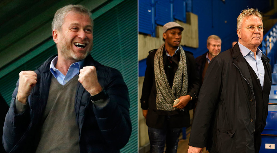 Roman Abramovich (L), Guus Hiddink (R). © Reuters