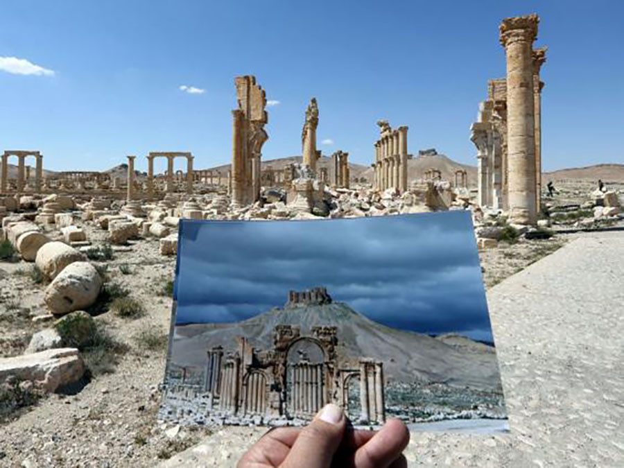 A picture of the Arc du Triomphe (Triumph's Arch) contrasted with what remains of the historic monument after it was destroyed by Islamic State (IS) group jihadists in October 2015 in the ancient Syrian city of Palmyra. © Joseph Eid