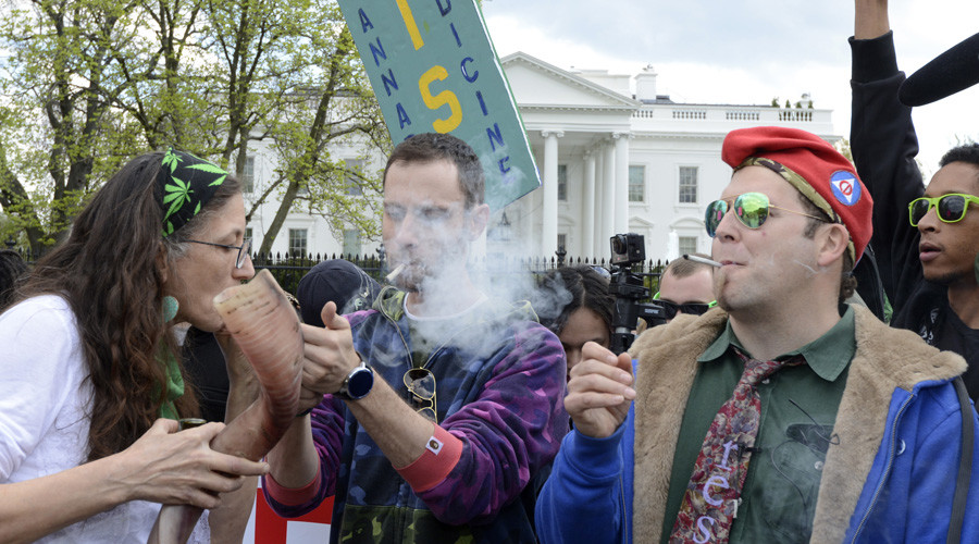 Inhale to the chief: Pot activists light up outside the White House