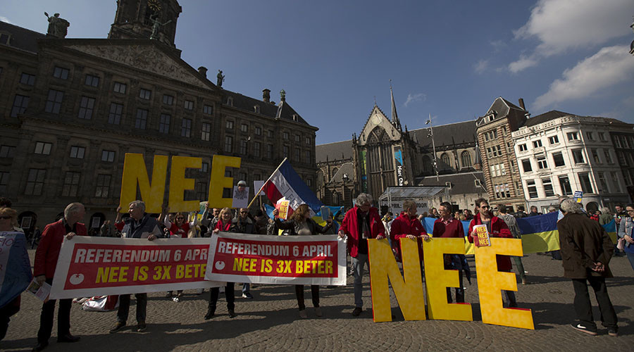 "Demonstrators call for people to vote no in the EU referendum during a protest at Dam Square in Amsterdam, the Netherlands April 3, 2016. The banners read: ""Referendum April 6. No is 3 times better"", and the big letters collectively read ""No"". © Cris Toala Olivares"