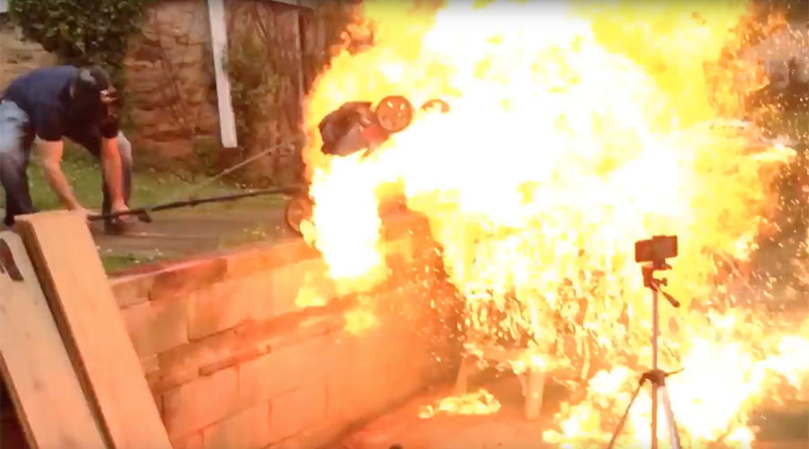 Lawnmower explodes during crazy backyard 'art' experiment (VIDEO)