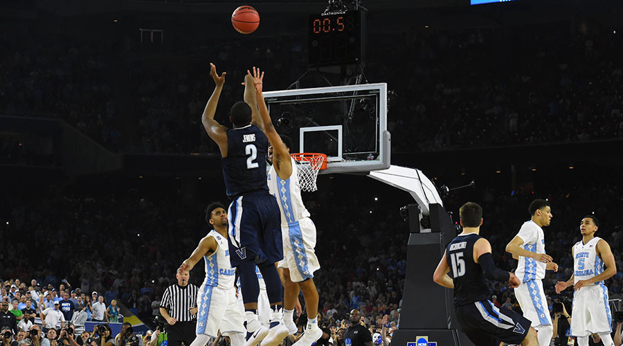 Villanova Wildcats forward Kris Jenkins (2) hits the game winning shot with 0.5 seconds in the championship game of the 2016 NCAA Men's Final Four. © Bob Donnan / USA TODAY Sports