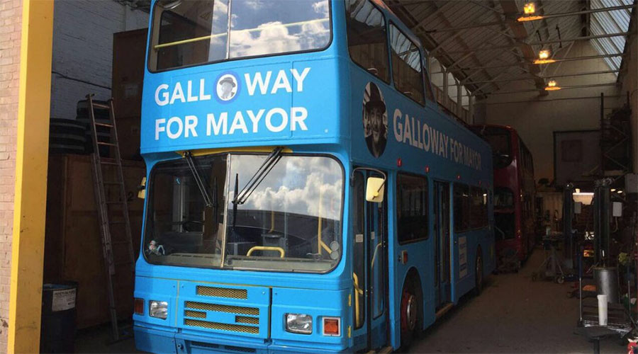 Ultimate disrespect: George Galloway's London mayoral campaign bus robbed in the night