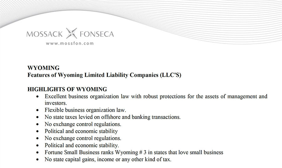 Mossack Fonseca's marketing materials touting the advantages of registering a LLC in Wyoming (via mossfon.com)
