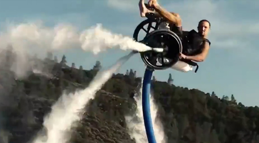 Incredible wheelchair watersport stunt propelled by aqua jetpack (VIDEO)