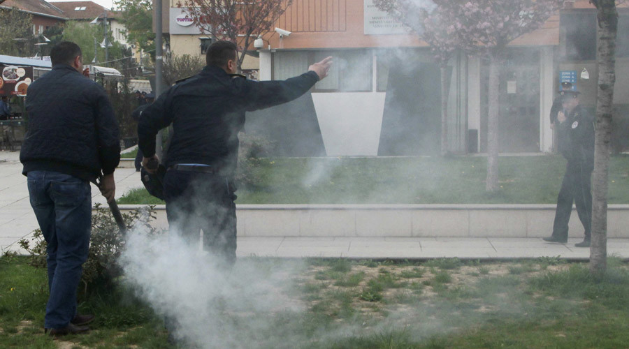 Tear gas fired by the protesters to disrupt the inauguration ceremony for Kosovo President Hashim Thaci is seen in Pristina, Kosovo, April 8, 2016. © Hazir Reka