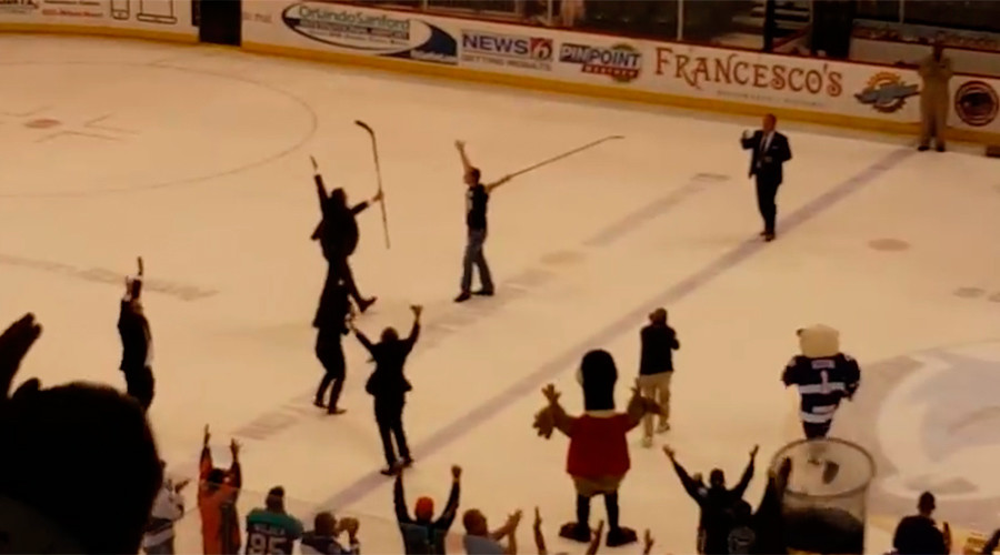 What the puck: Hockey fan wins $100k after making incredible 115-foot shot (VIDEO)
