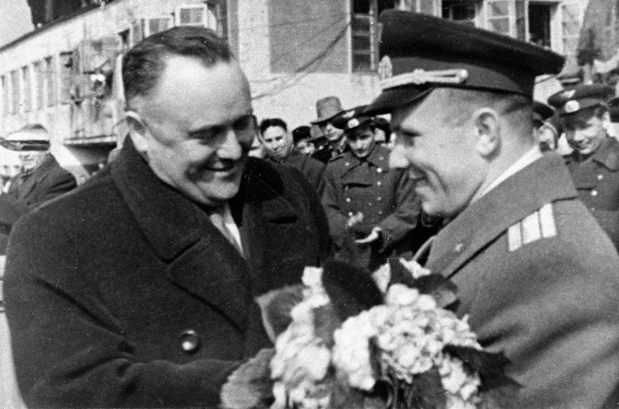 Space rocket designer Sergei Korolyov (left) congratulating cosmonaut Yuri Gagarin (right) on successful completion of the first ever space flight © Shevich