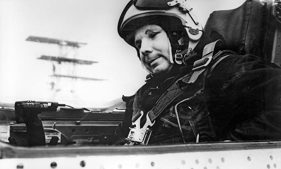 Yuri Gagarin in the cabin of MIG-21 plane, 1968 © Alexander Mokletsov