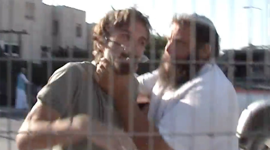Gopstein can be seen choking a man in the video, which was ruled 'self defense' by an Israeli judge. © guybo111