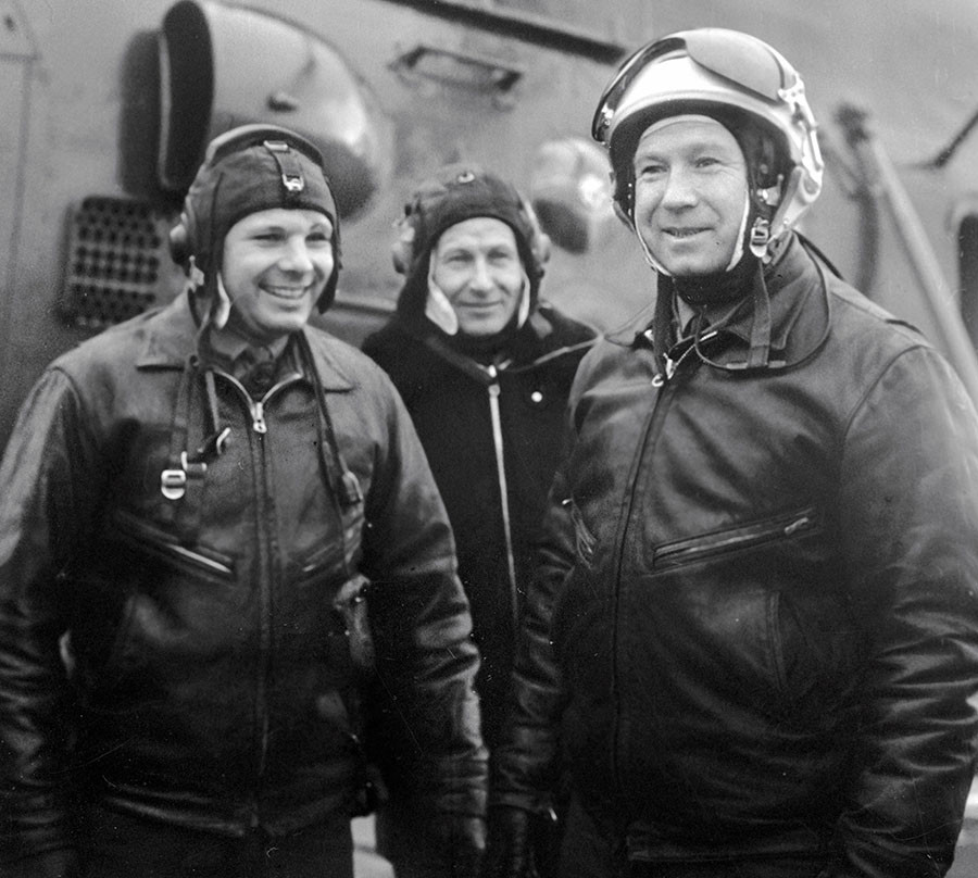 Soviet pilots-cosmonauts Yuri Gagarin (left) and Alexei Leonov (right) on the airfield after a training session. ©Alexander Mokletsov