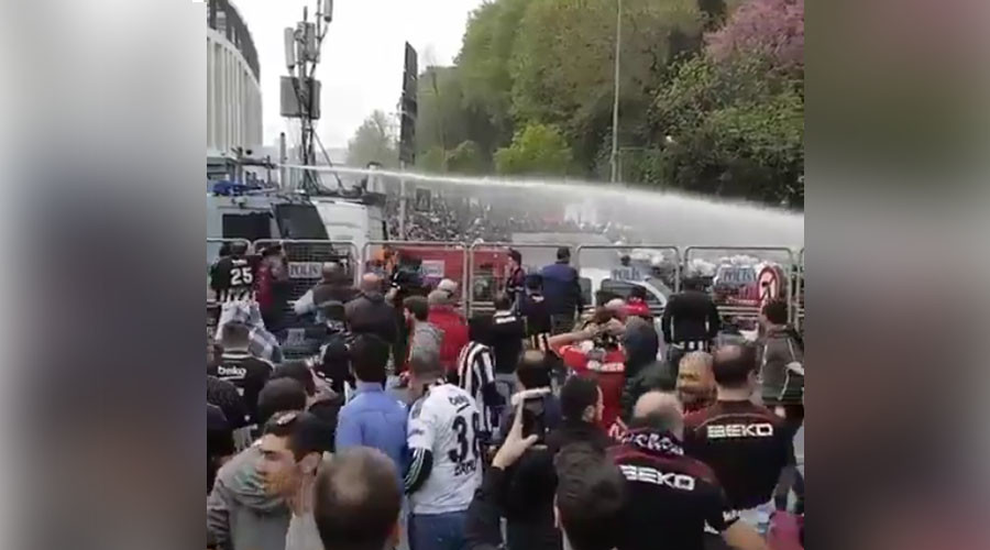 Tear gas & water cannon used against Besiktas soccer fans in Turkey
