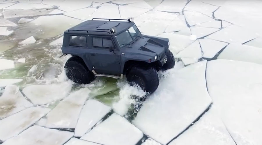 'Hunta Overcomer': Epic all-terrain vehicle tackles more than land & water (VIDEO)