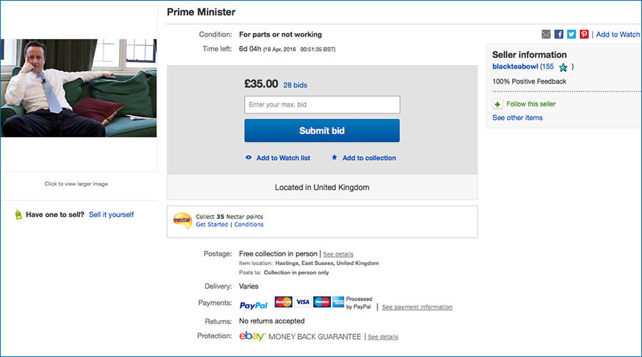 'Used prime minister' David Cameron up for sale on eBay