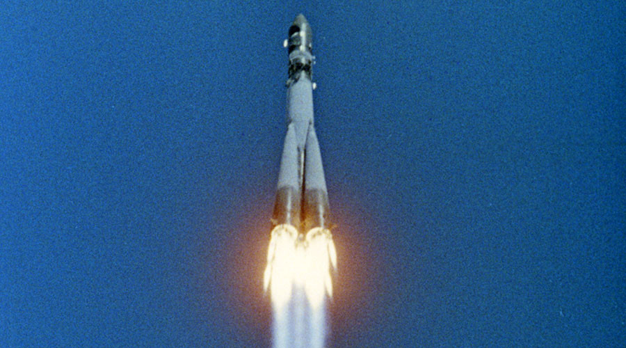 Vostok 1 spacecraft. Launched from Earth (April 12, 1961) with the first cosmonaut, Yuri Gagarin, aboard. Still from a documentary shot in 1968. © Sputnik