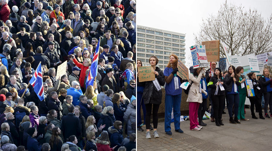 A tale of two protests: Icelanders take to the street, Britons take to keyboards