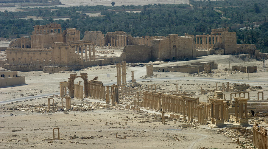 A general view shows the ancient Temple of Bel in the historical city of Palmyra © Gustau Nacarino