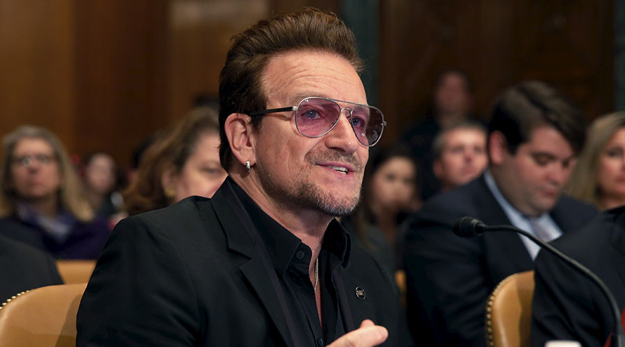 "U2 lead singer Bono testifies before a Senate Appropriations State, Foreign Operations and Related Programs Subcommittee hearing on ""Causes and consequences of violent extremism and the role of foreign assistance"" on Capitol Hill in Washington April 12, 2016. © Yuri Gripas"