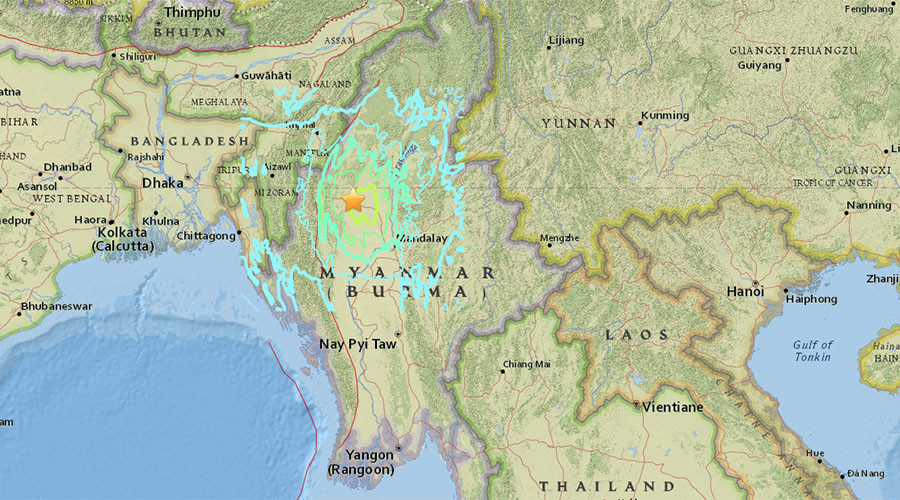 Earthquake up to 7.2 hits Myanmar-India border