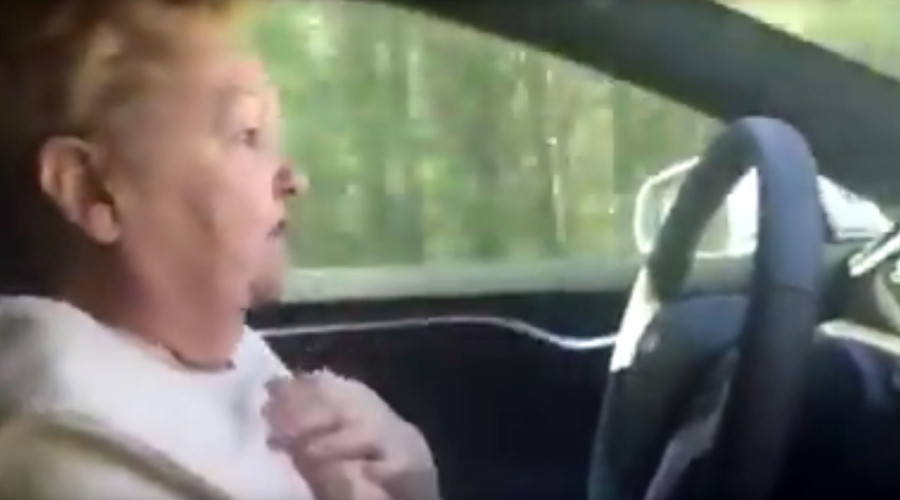 Control freak: Granny yells her way through Tesla self-drive experience (VIDEO)