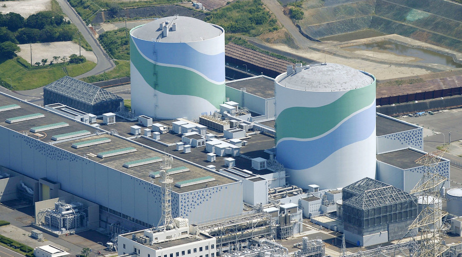 An aerial view shows the No.1 (L) and No.2 reactor buildings at Kyushu Electric Power's Sendai nuclear power station in Satsumasendai, Kagoshima prefecture, Japan. © Kyodo
