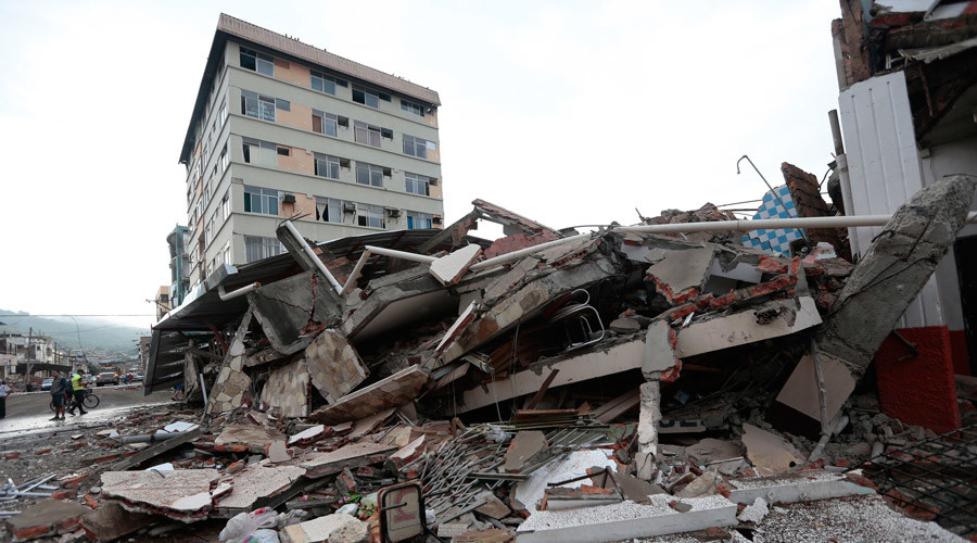 View of rubble after a 7.8-magnitude quake in Portoviejo, Ecuador on April 17, 2016. © Juan Cevallos