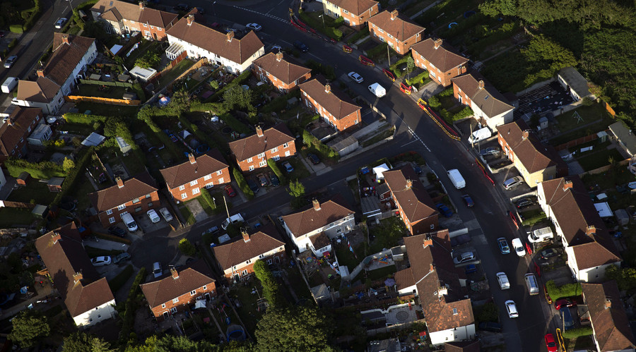 Houses are seen from the air in Bristol, southern England. © Neil Hall