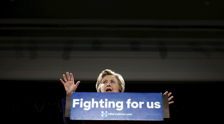 "Democratic U.S. presidential candidate Hillary Clinton speaks at a ""Women for Hillary"" campaign rally in the Manhattan borough of New York City, U.S. April 18, 2016. © Mike Segar"