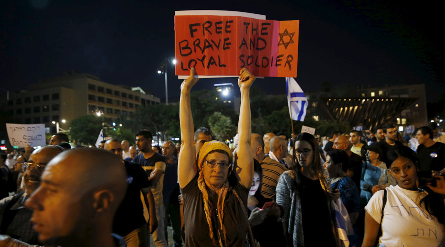 Israelis rally for release of soldier who finished off wounded Palestinian attacker