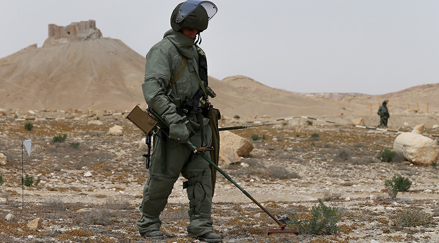 Russian military removes all mines & bombs in historic Palmyra