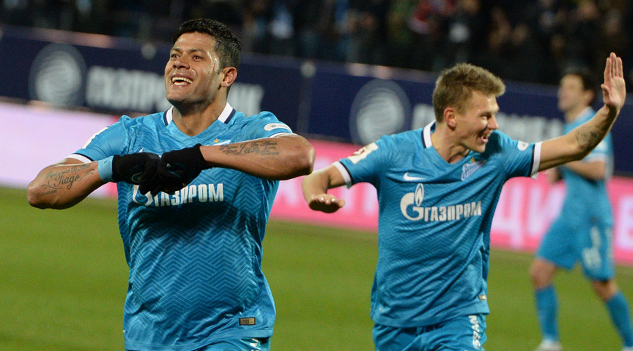 Zenit's Hulk, left, and Oleg Shatov celebrate a goal during the Russian Football Premier League's Round 22 match between Zenit St. Petersburg and CSKA Moscow.  © Alexei Danichev